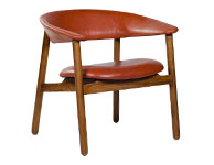 Boomerang Arm Chair Red Leather