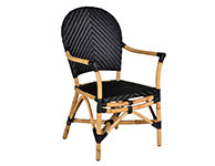 Black Rattan Chair with Arm